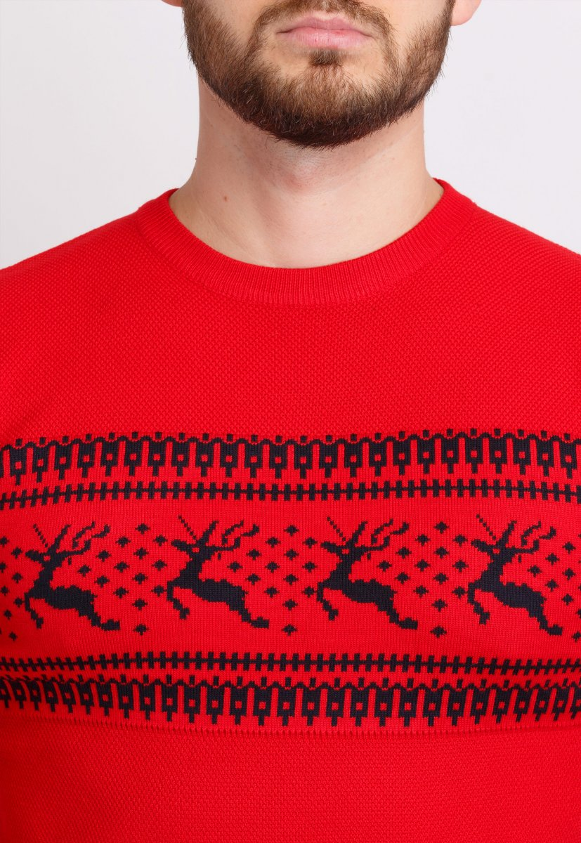 Свитер Trend Collection 9533 Красный+черные олени - Фото 1