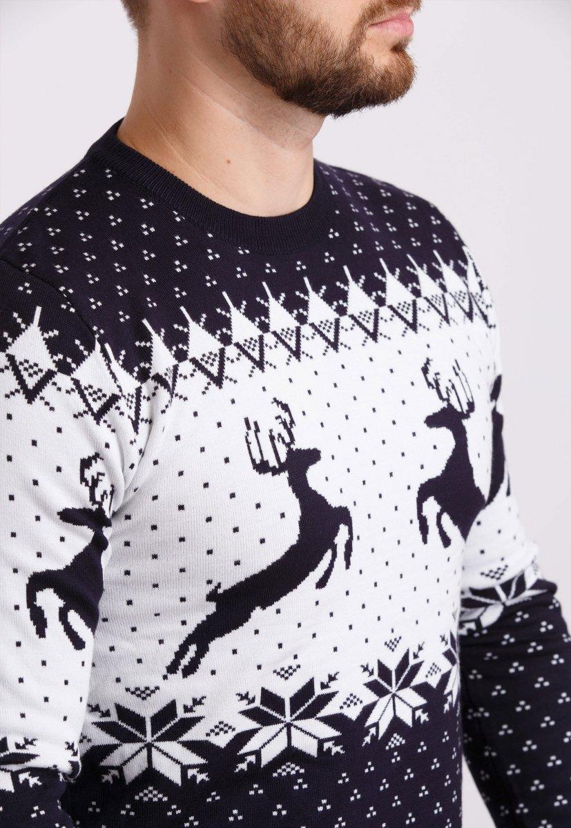 Свитер новогодний Trend Collection 19013 Темно-синий+белый+олени - Фото