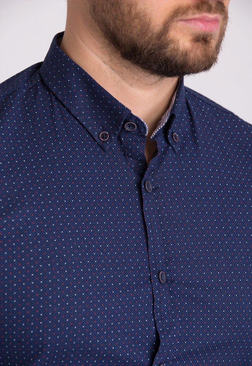 Мужская рубашка Trend Collection 32281 Синий + точка - Фото