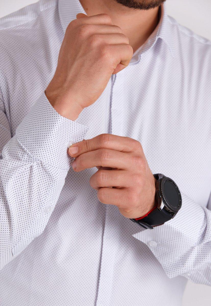 Рубашка мужская Trend Collection 0805 Белый+точка - Фото