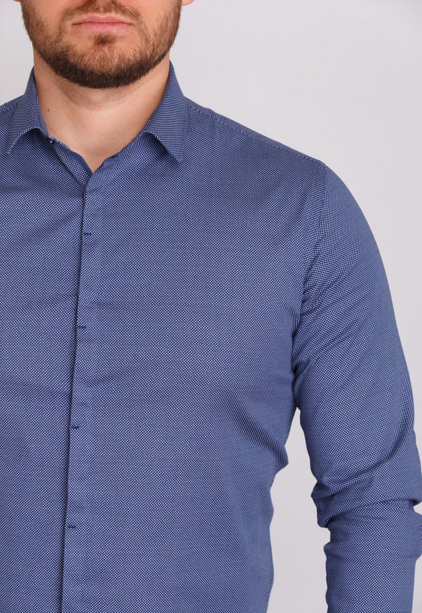 Рубашка мужская Trend Collection 0805 Синий+точка - Фото