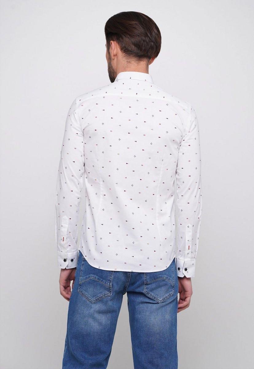 Рубашка Trend Collection 014 Белый+синий треугольник - Фото 1