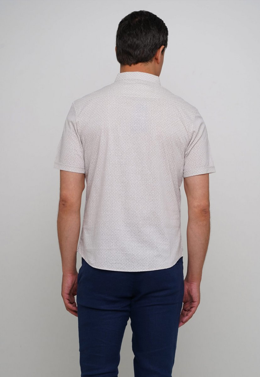Рубашка Trend Collection 19643 Бежевый+синяя точка - Фото