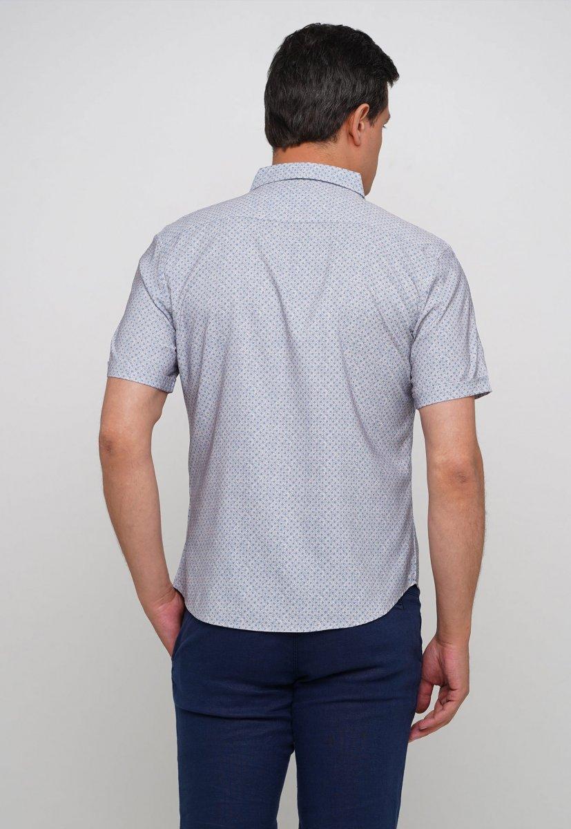 Рубашка Trend Collection 19771 Серый+небесный ромб - Фото