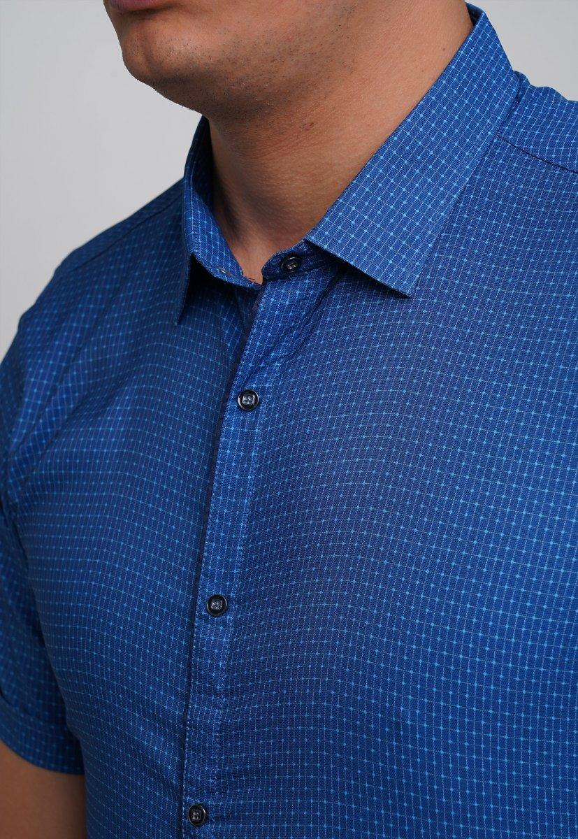 Рубашка Trend Collection 19897 Синий+небесный квадрат - Фото 2