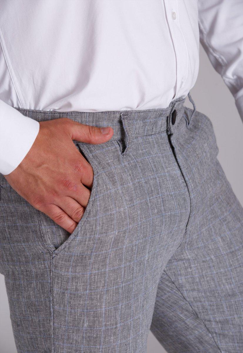 Брюки Trend Collection 4025 Серый + небесная клетка - Фото 2