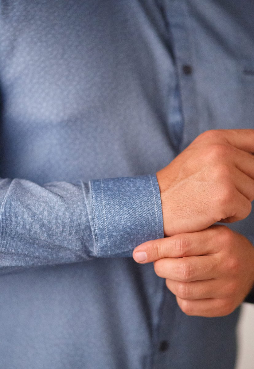 Мужская рубашка Trend Collection 10322 Синий+узор V01 - Фото