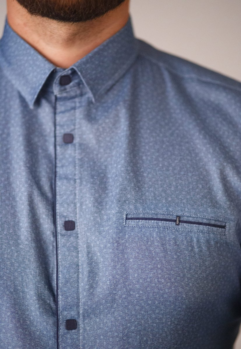 Мужская рубашка Trend Collection 10322 Синий+узор V01 - Фото 1