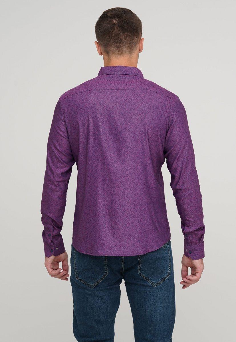 Мужская рубашка Trend Collection 10322 Сиреневый+узор V02 - Фото