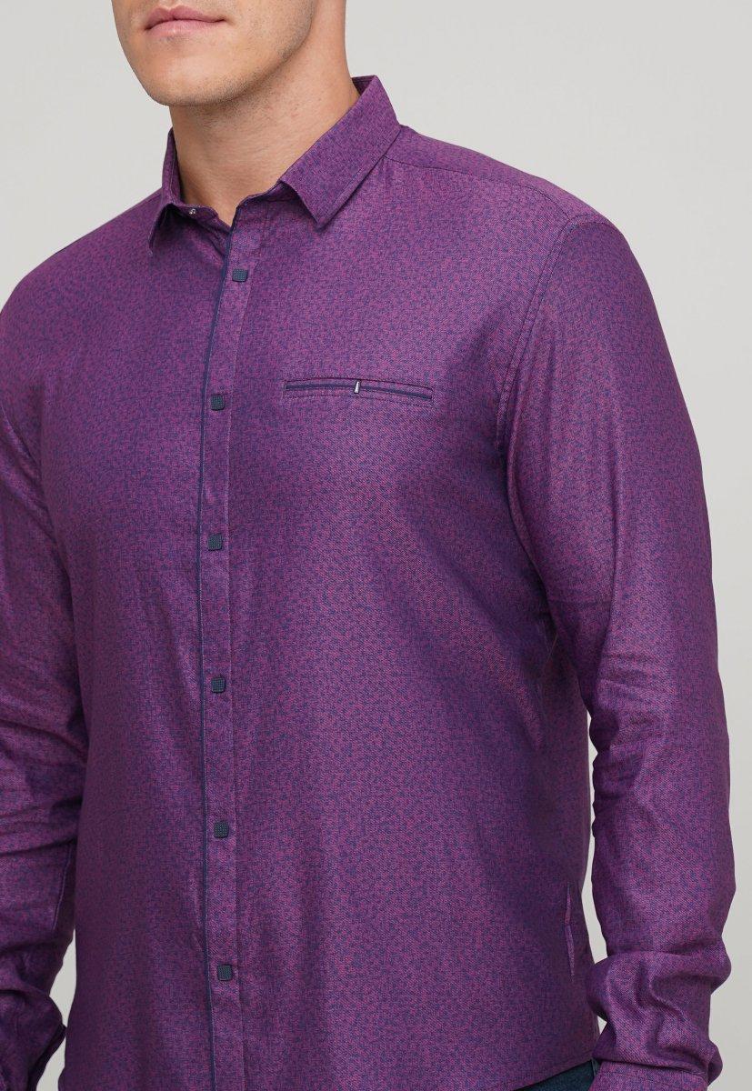 Мужская рубашка Trend Collection 10322 Сиреневый+узор V02 - Фото 1