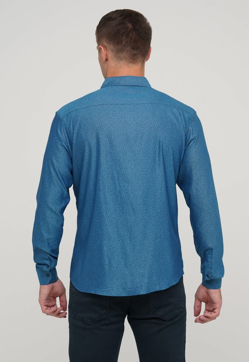 Мужская рубашка Trend Collection 10322 Изумрудный+узор V03 - Фото