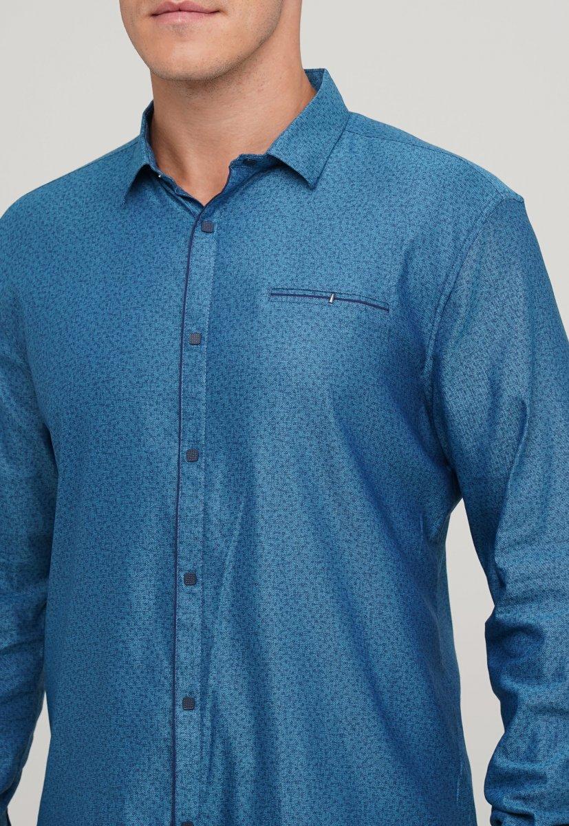 Мужская рубашка Trend Collection 10322 Изумрудный+узор V03 - Фото 1
