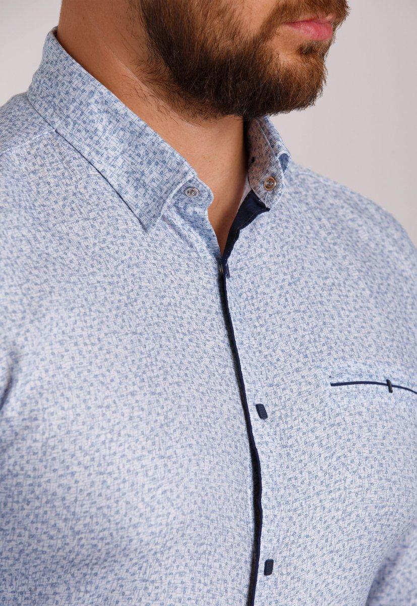 Мужская рубашка Trend Collection 10322 Небесный+узор V04 - Фото 1