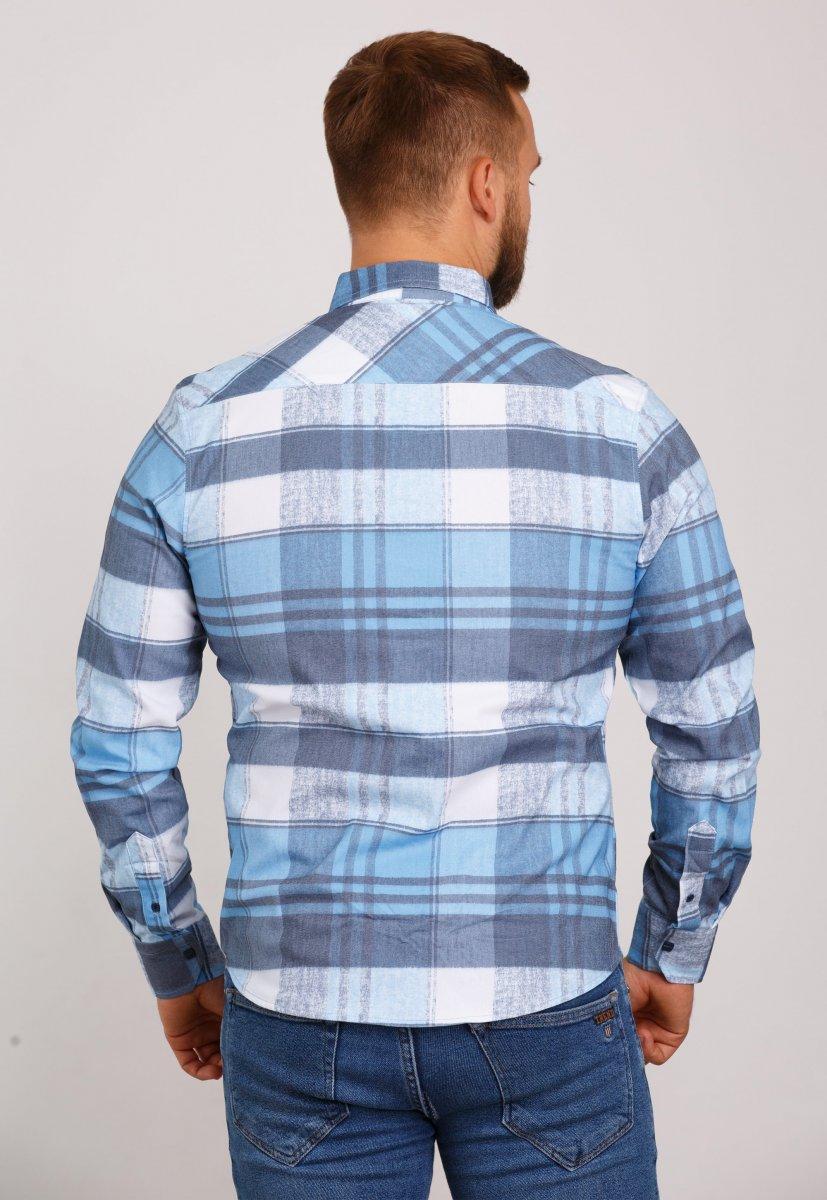 Рубашка Trend Collection 10347 Небесный+белая клетка V05 - Фото