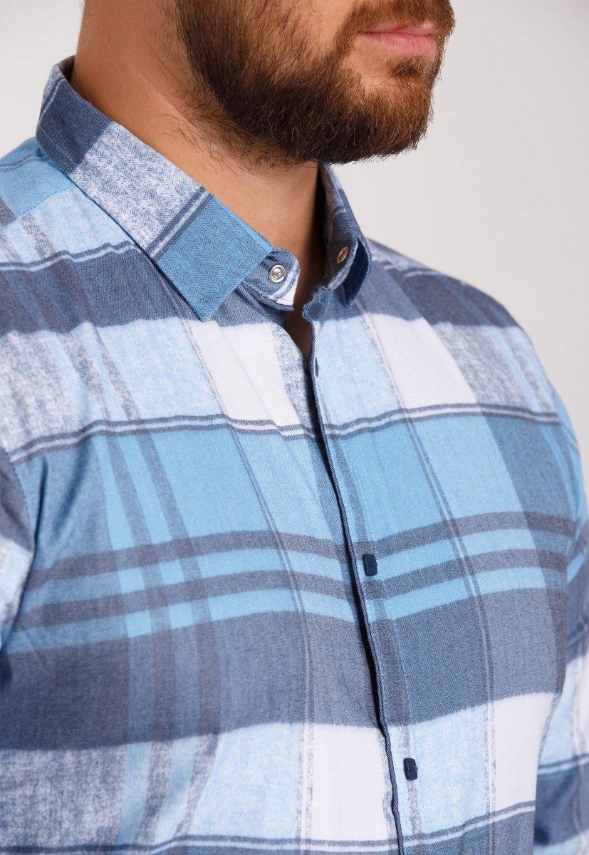 Рубашка Trend Collection 10347 Небесный+белая клетка V05 - Фото 1