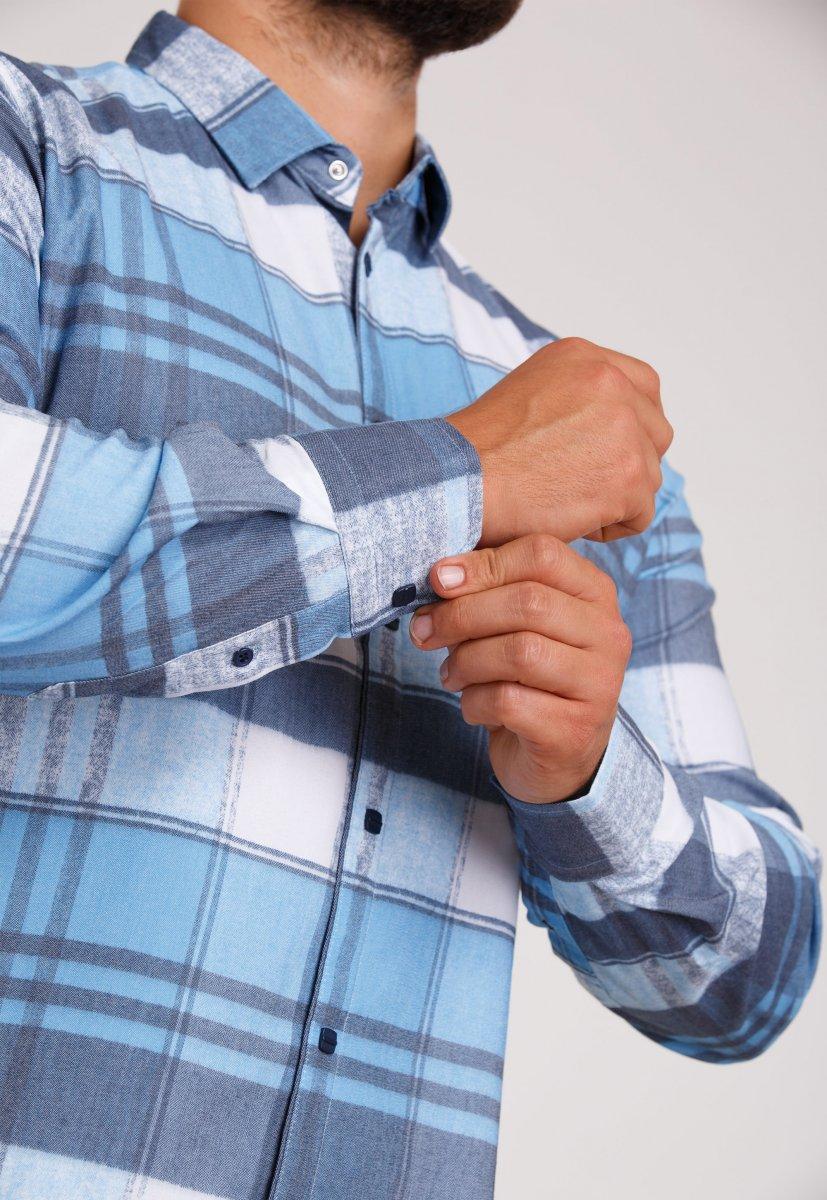 Рубашка Trend Collection 10347 Небесный+белая клетка V05 - Фото 2