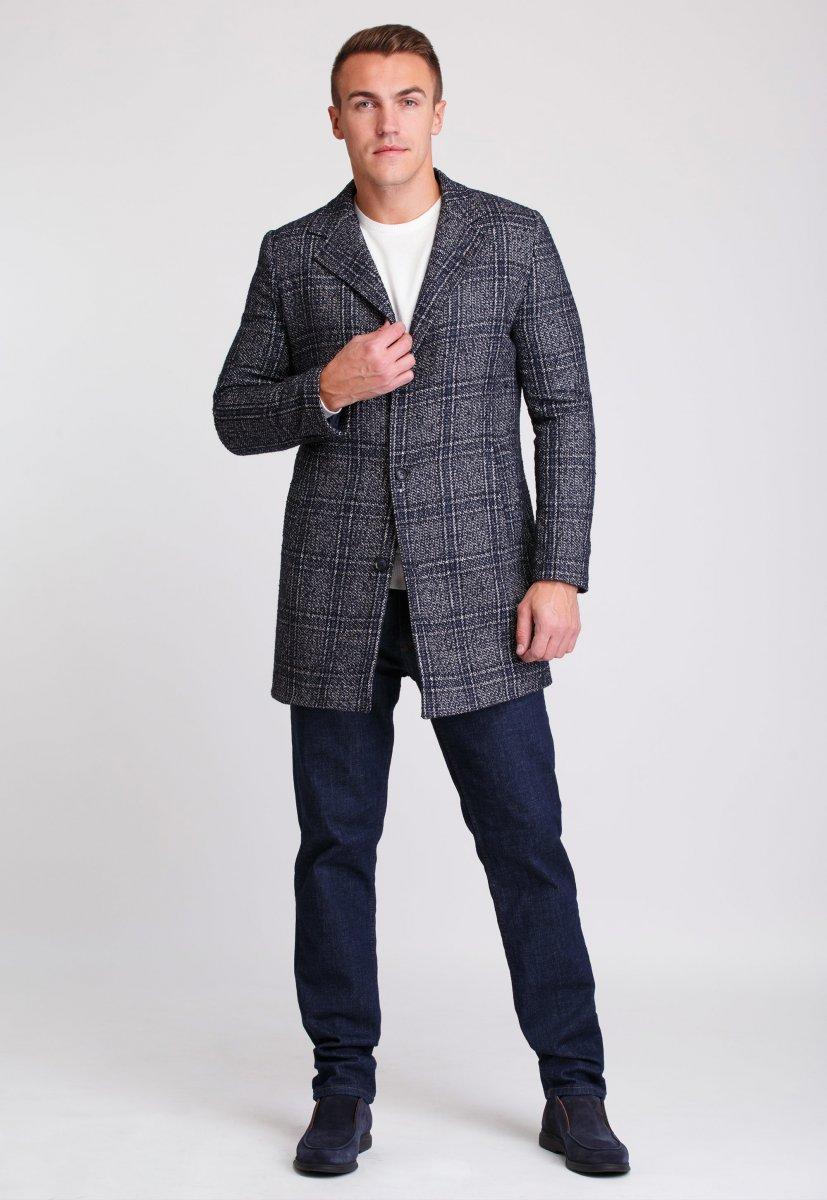 Пальто Trend Collection 553 Темно-синий+клетка - Фото 1