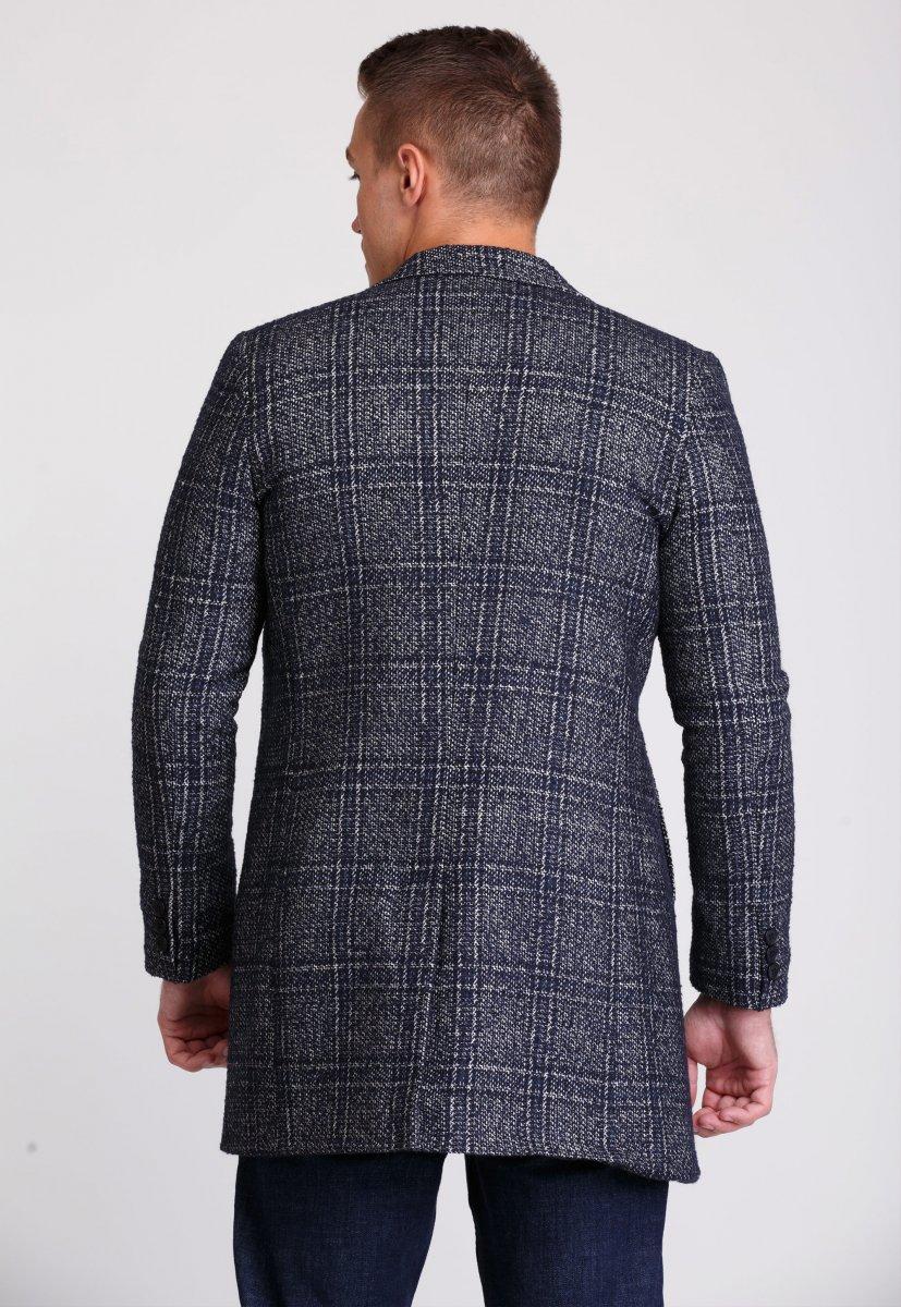 Пальто Trend Collection 553 Темно-синий+клетка - Фото 2