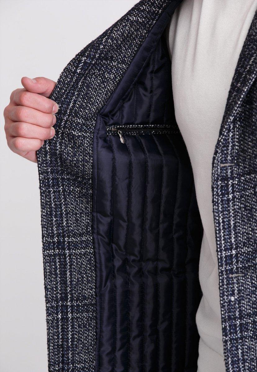 Пальто Trend Collection 553 Темно-синий+клетка - Фото 3