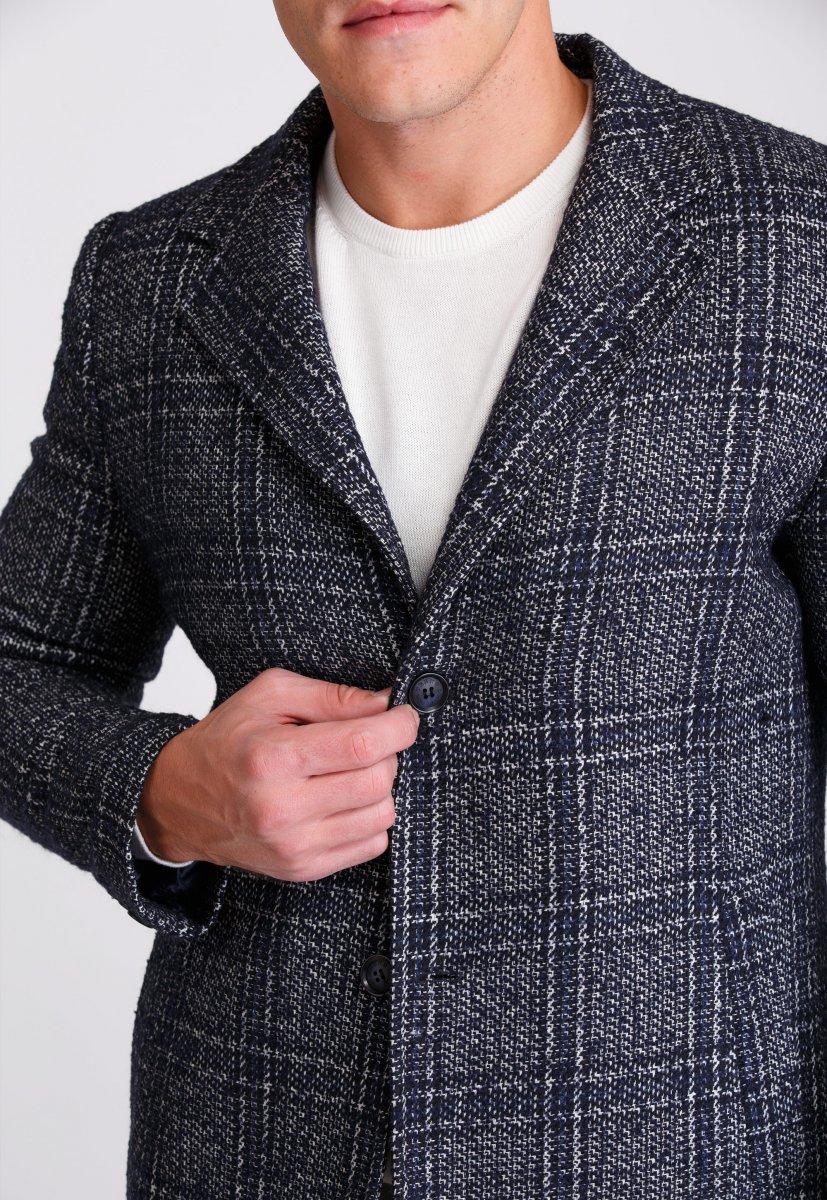 Пальто Trend Collection 553 Темно-синий+клетка - Фото 4