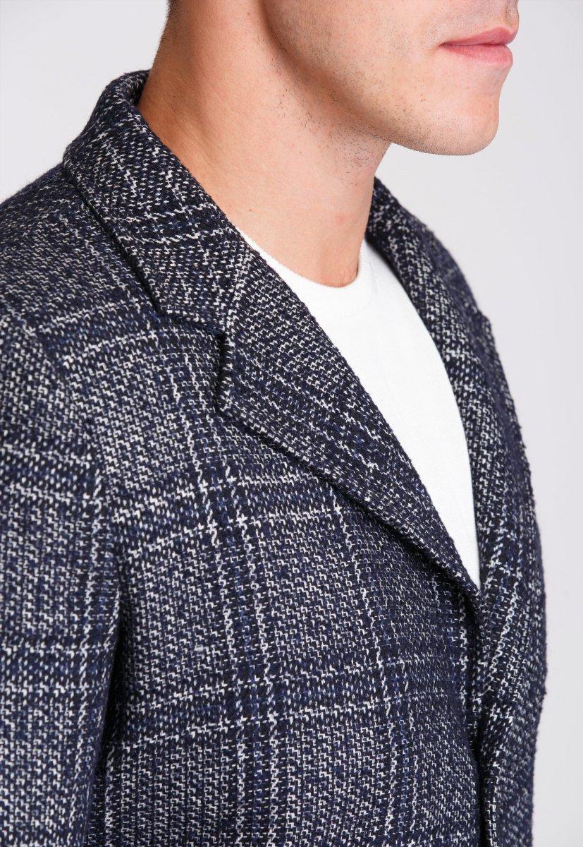 Пальто Trend Collection 553 Темно-синий+клетка - Фото 5