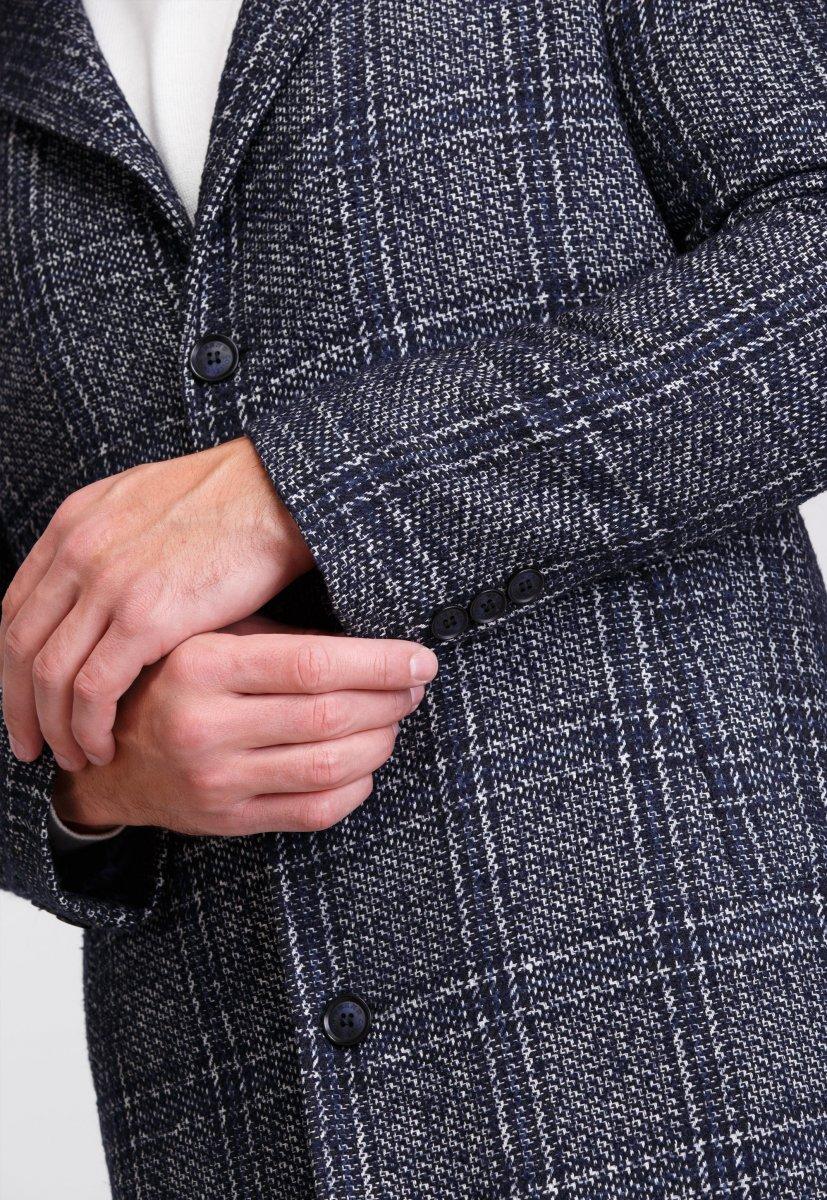 Пальто Trend Collection 553 Темно-синий+клетка - Фото 6