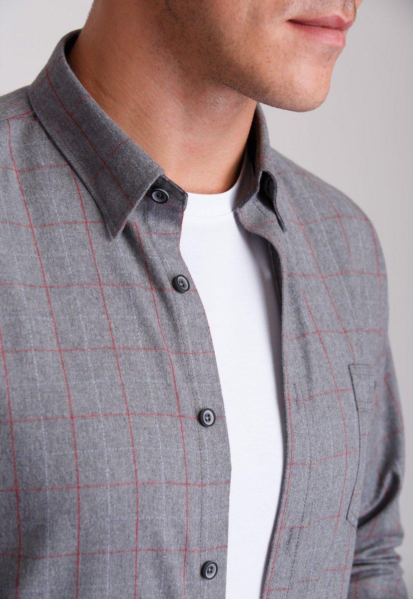 Рубашка мужская Trend Collection 7009 Серый+красная клетка №1 - Фото 1