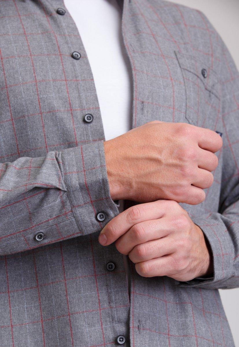 Рубашка мужская Trend Collection 7009 Серый+красная клетка №1 - Фото 2