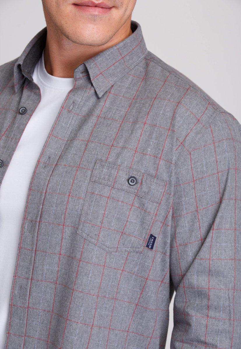 Рубашка мужская Trend Collection 7009 Серый+красная клетка №1 - Фото 3