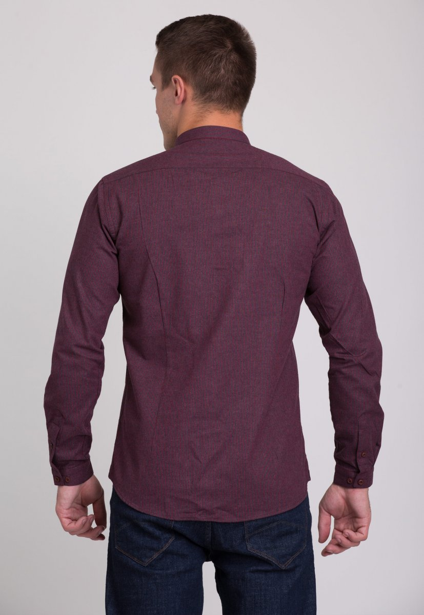 Рубашка мужская Trend Collection 7008 Бордовый+синяя полоска №4 - Фото 1