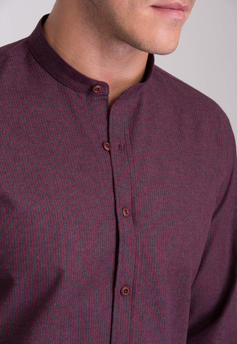 Рубашка мужская Trend Collection 7008 Бордовый+синяя полоска №4 - Фото 2
