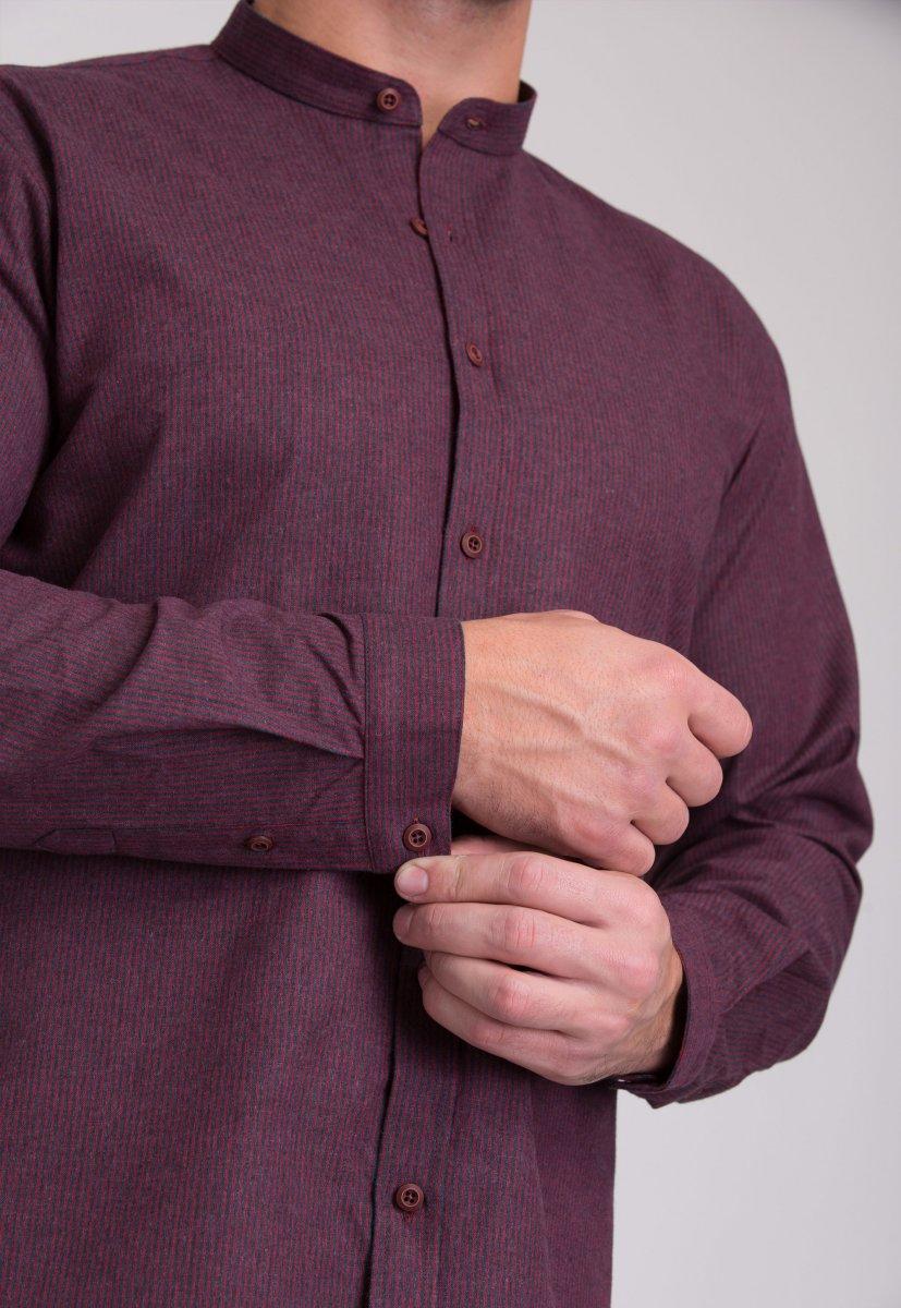 Рубашка мужская Trend Collection 7008 Бордовый+синяя полоска №4 - Фото 3