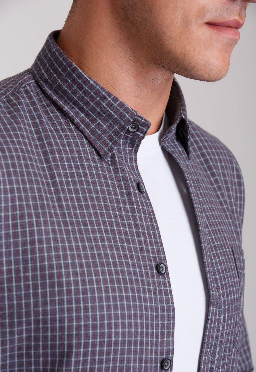 Рубашка мужская Trend Collection 7009 Серый+белая+красная клетка №10 - Фото 2