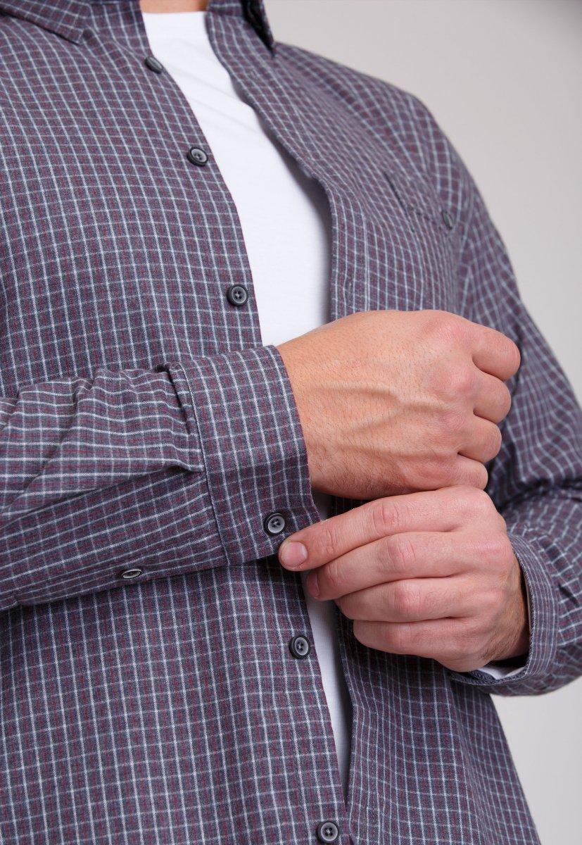 Рубашка мужская Trend Collection 7009 Серый+белая+красная клетка №10 - Фото 4