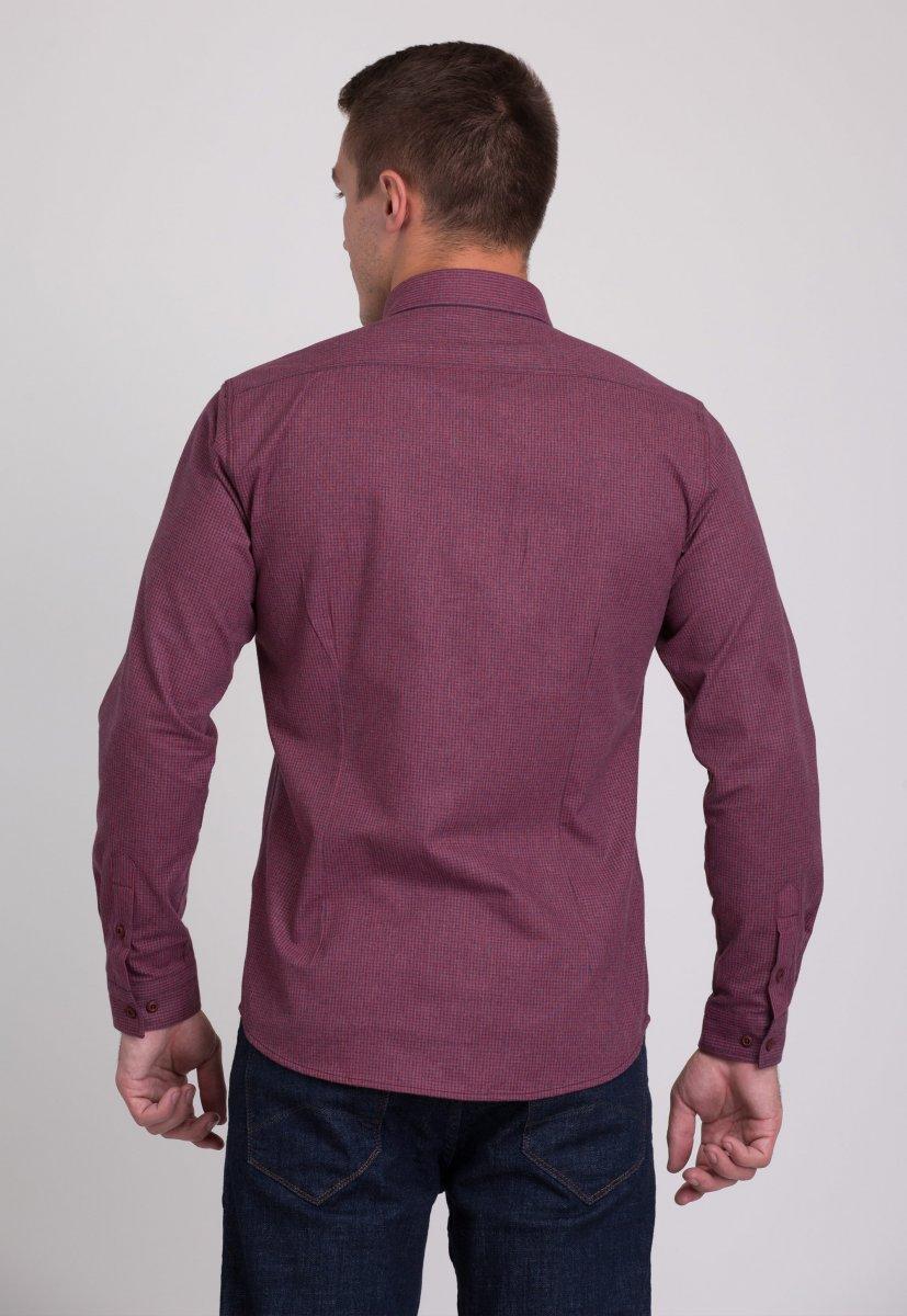 Мужская рубашка Trend Collection 7009 Бордовый+синяя клетка №3 - Фото
