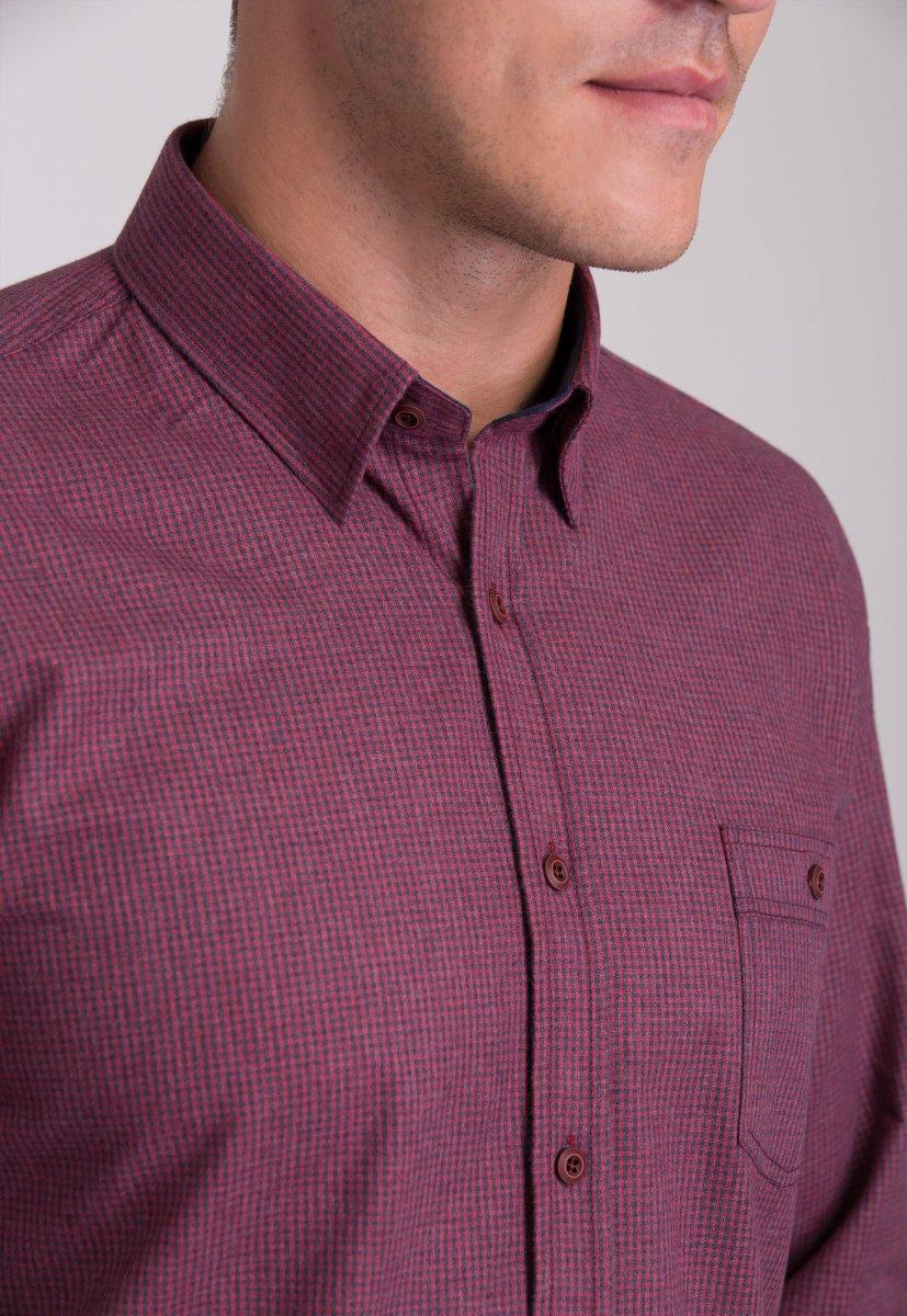 Мужская рубашка Trend Collection 7009 Бордовый+синяя клетка №3 - Фото 1