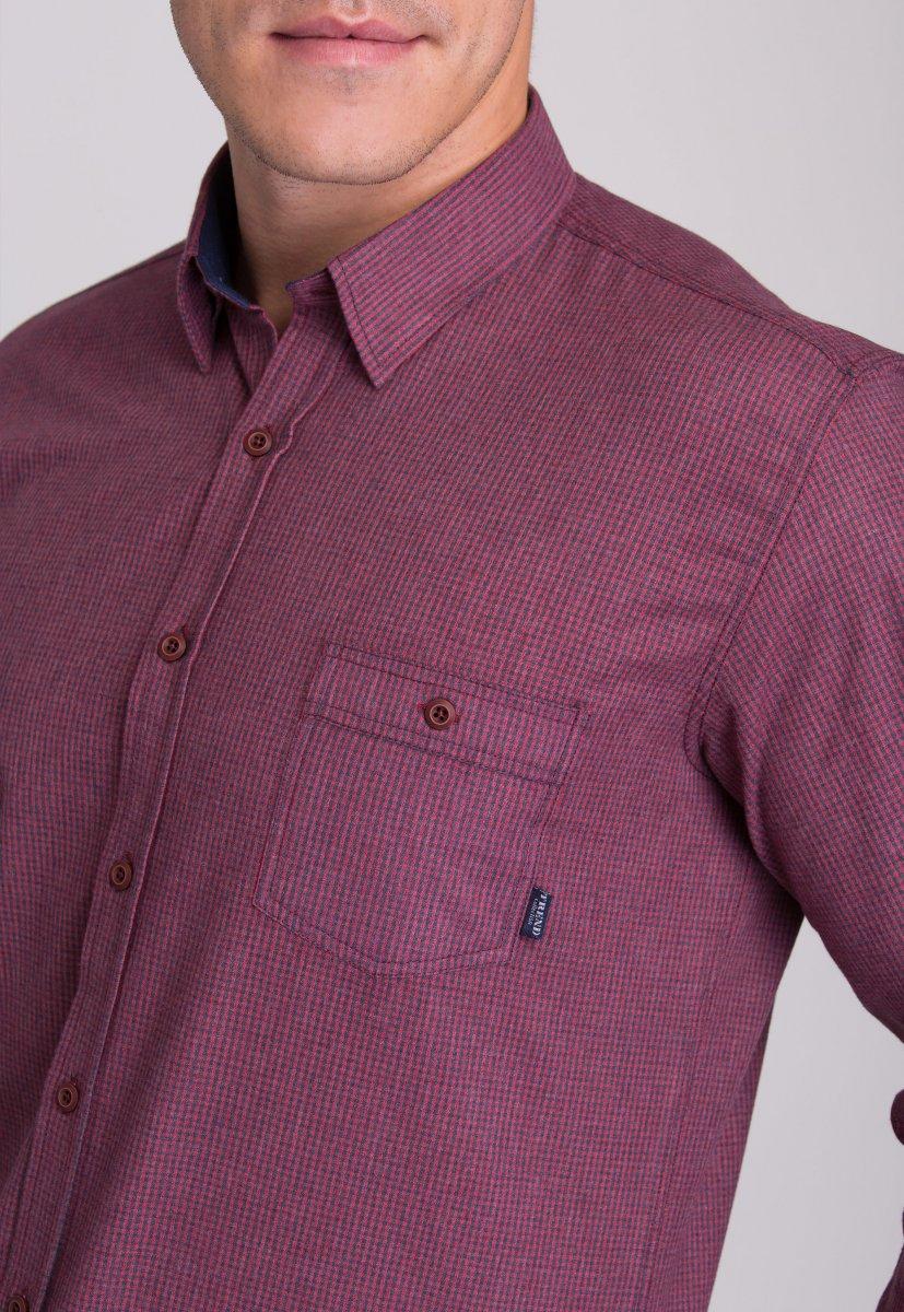 Мужская рубашка Trend Collection 7009 Бордовый+синяя клетка №3 - Фото 2