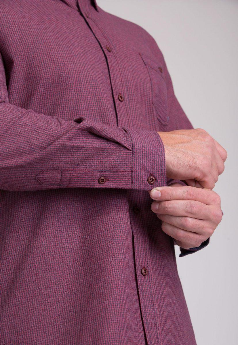 Мужская рубашка Trend Collection 7009 Бордовый+синяя клетка №3 - Фото 3