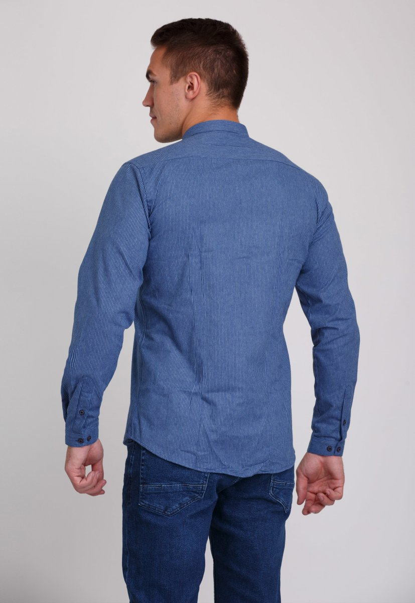 Мужская рубашка Trend Collection 7008 Синий+белая полоска №11 - Фото