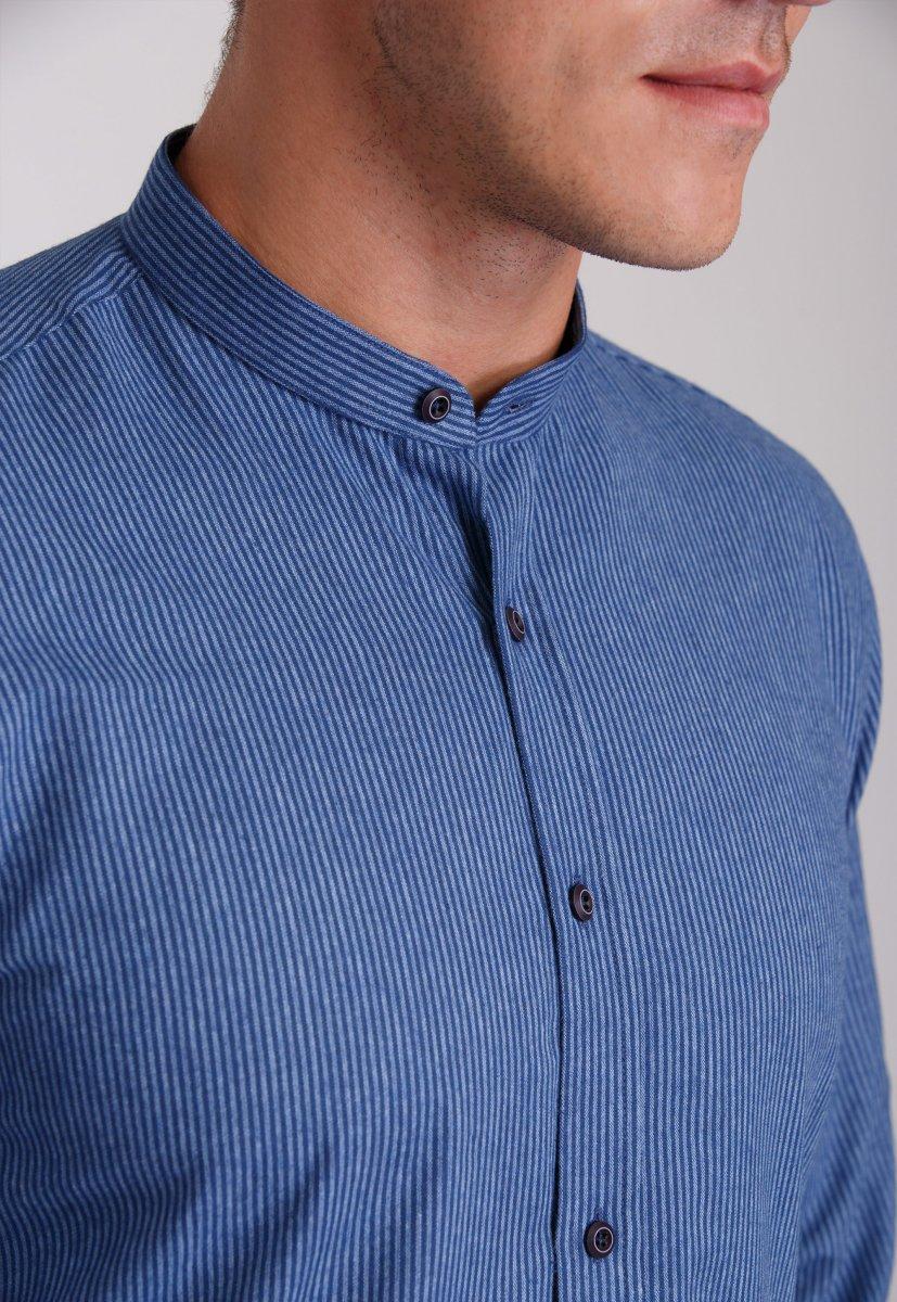 Мужская рубашка Trend Collection 7008 Синий+белая полоска №11 - Фото 1