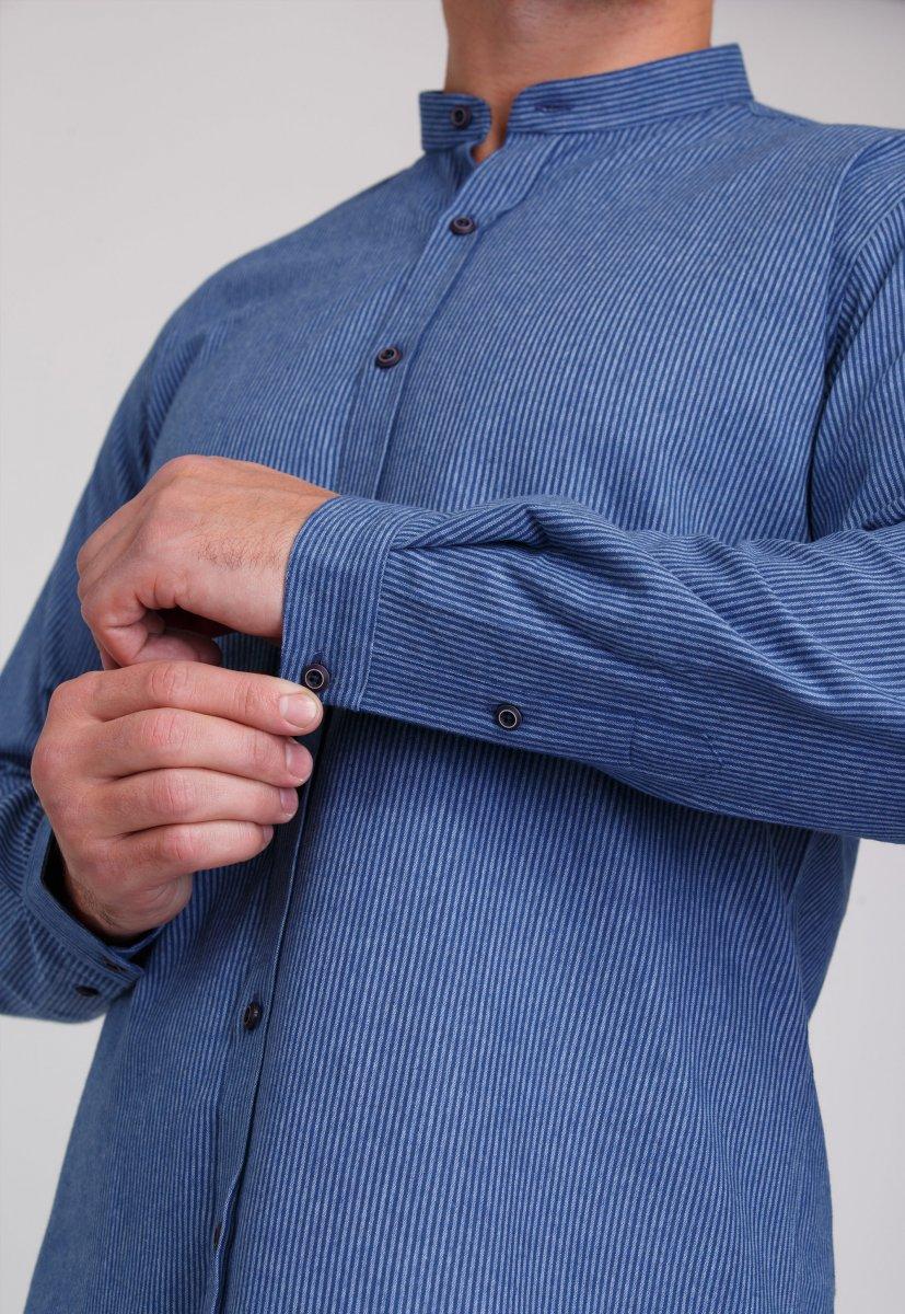 Мужская рубашка Trend Collection 7008 Синий+белая полоска №11 - Фото 2