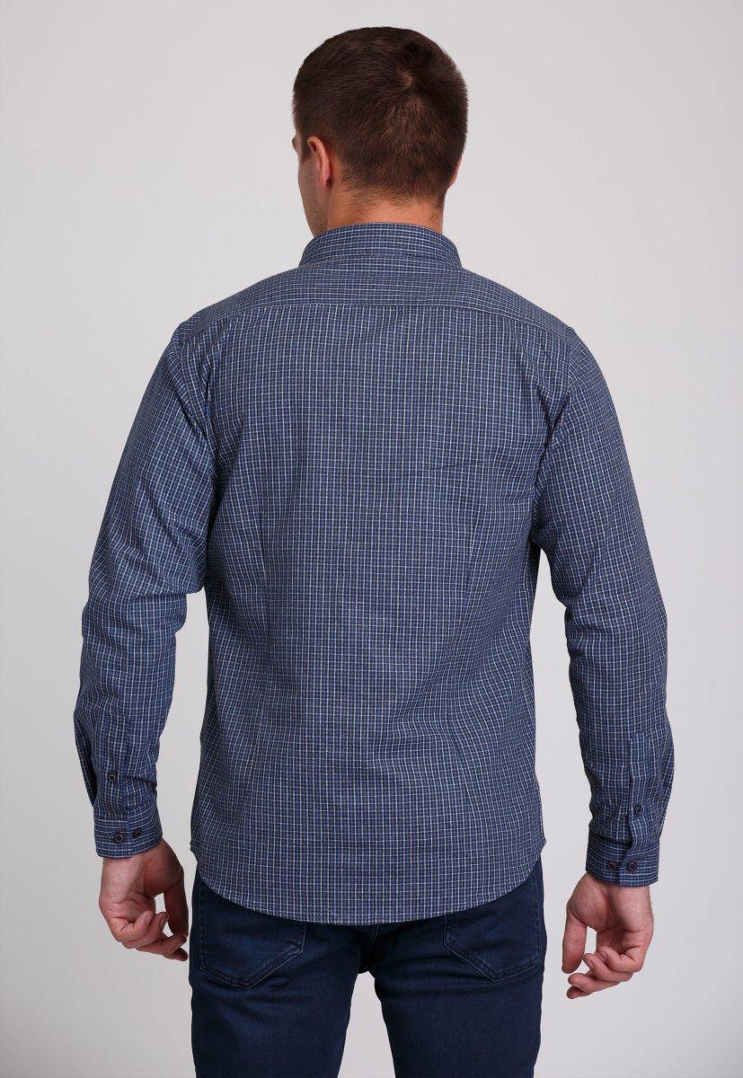 Мужская рубашка Trend Collection 7009 Синий+бежевая клетка №2 - Фото