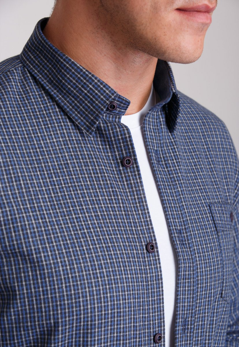 Мужская рубашка Trend Collection 7009 Синий+бежевая клетка №2 - Фото 1