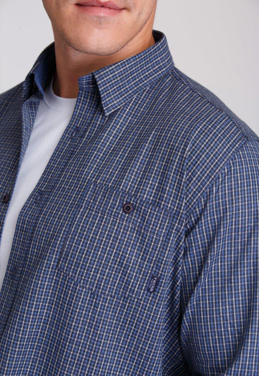 Мужская рубашка Trend Collection 7009 Синий+бежевая клетка №2 - Фото 2