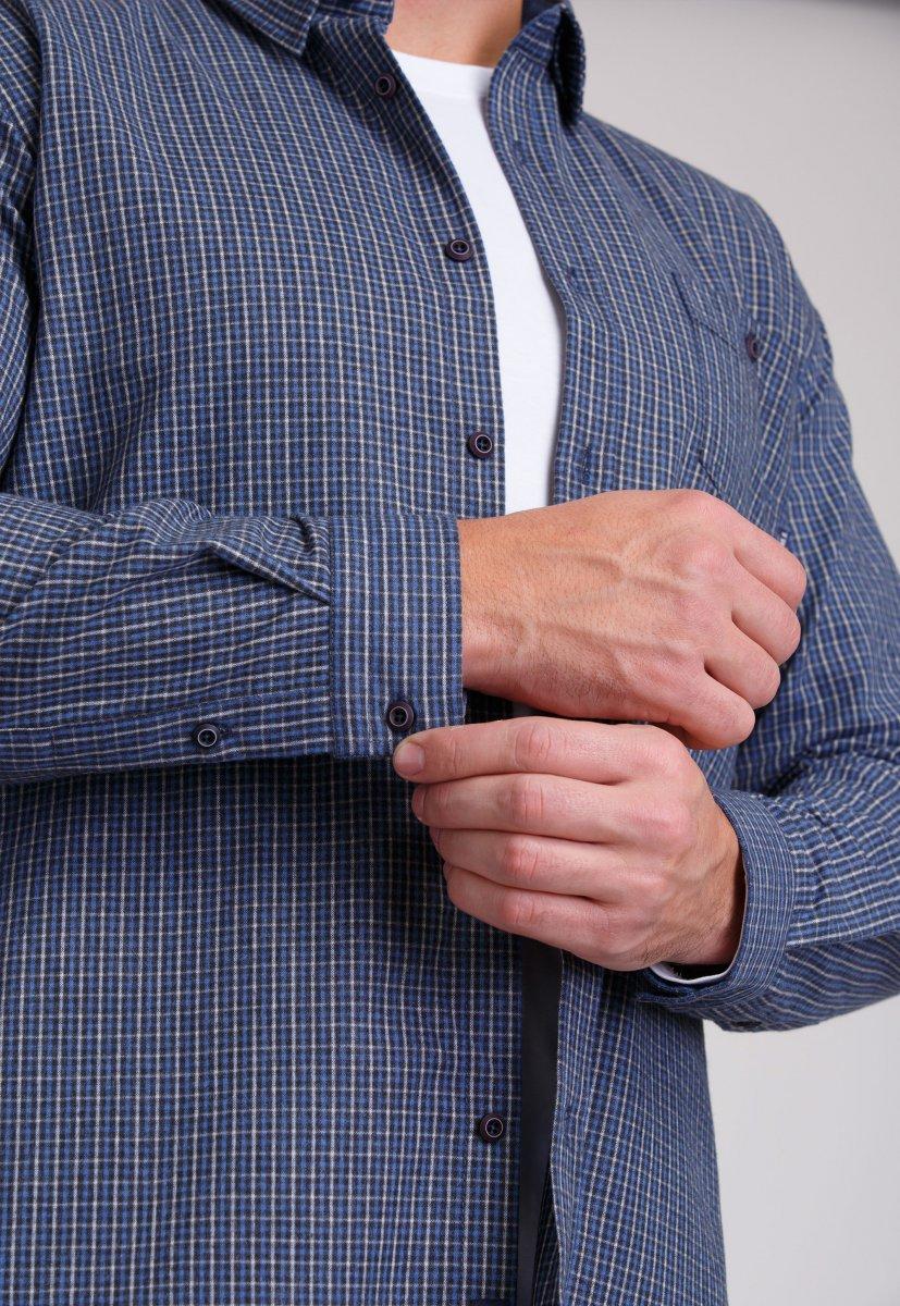 Мужская рубашка Trend Collection 7009 Синий+бежевая клетка №2 - Фото 3