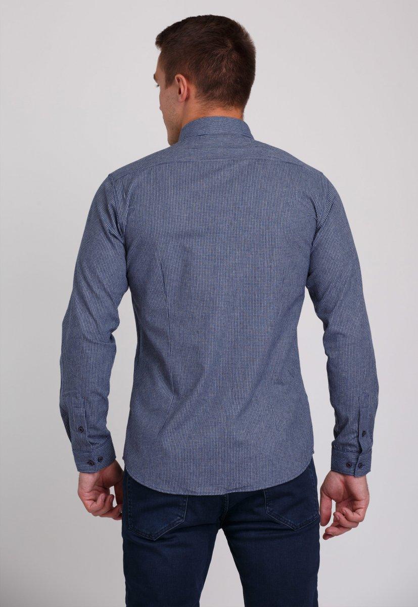 Мужская рубашка Trend Collection 7009 Синий+белая клетка №5 - Фото 1