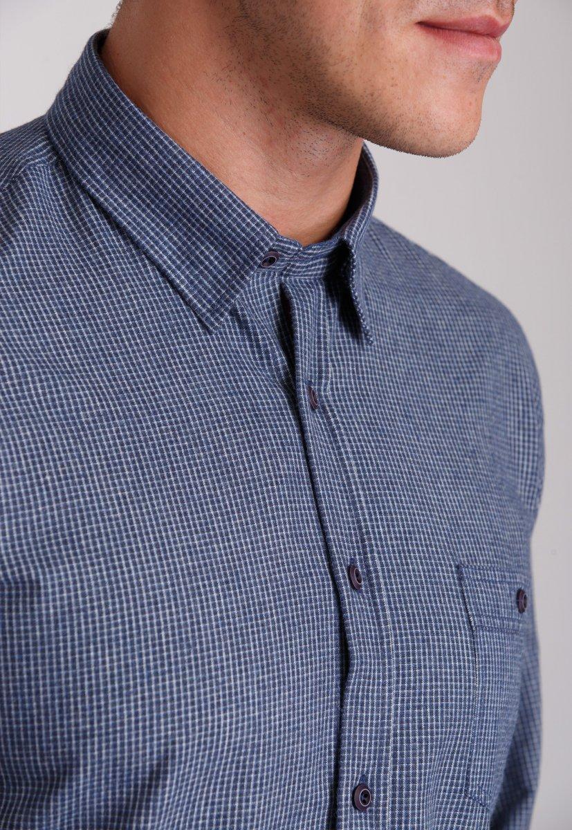Мужская рубашка Trend Collection 7009 Синий+белая клетка №5 - Фото 2