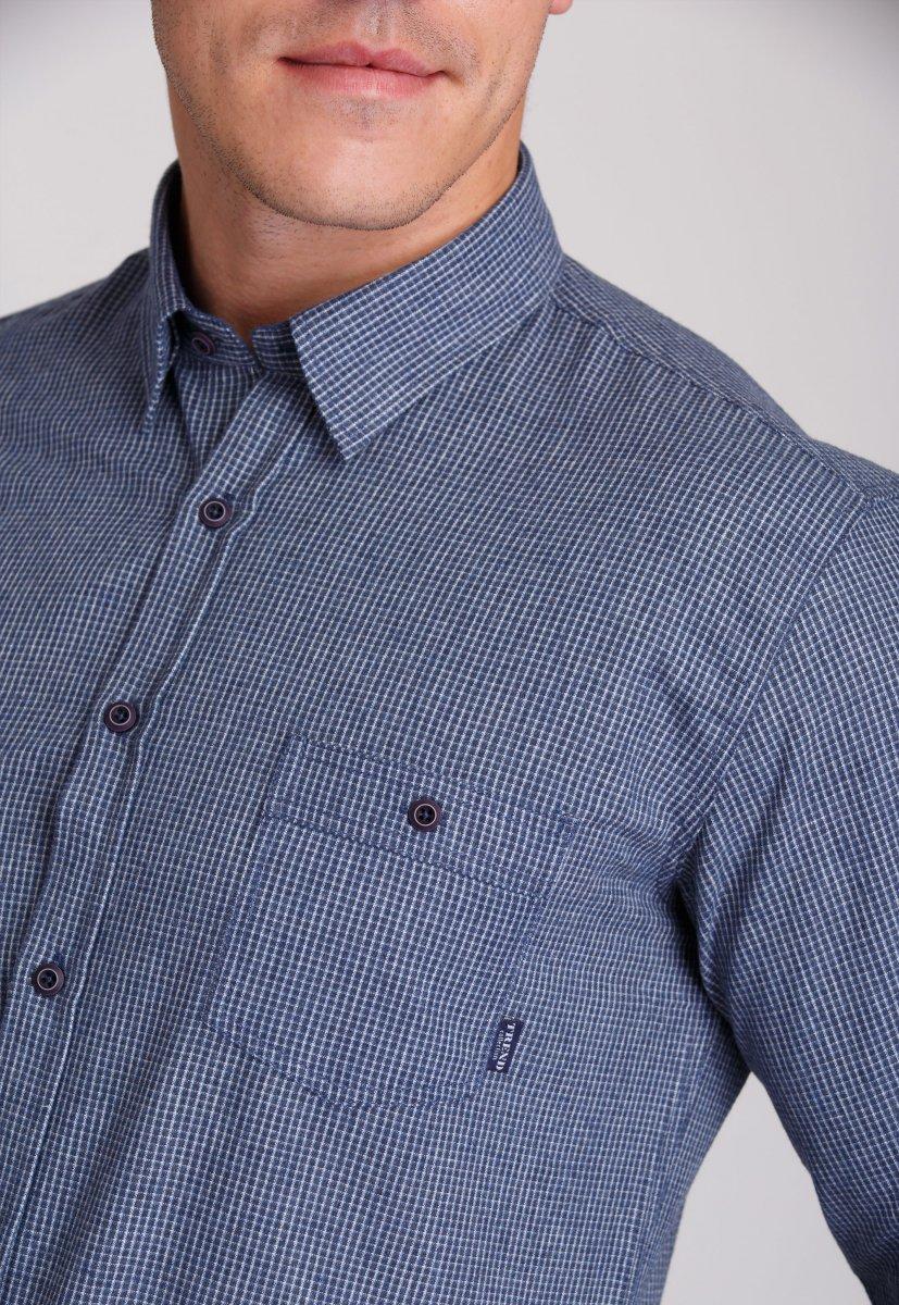 Мужская рубашка Trend Collection 7009 Синий+белая клетка №5 - Фото 3