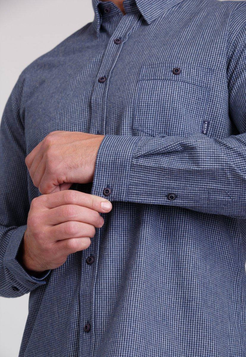Мужская рубашка Trend Collection 7009 Синий+белая клетка №5 - Фото 4