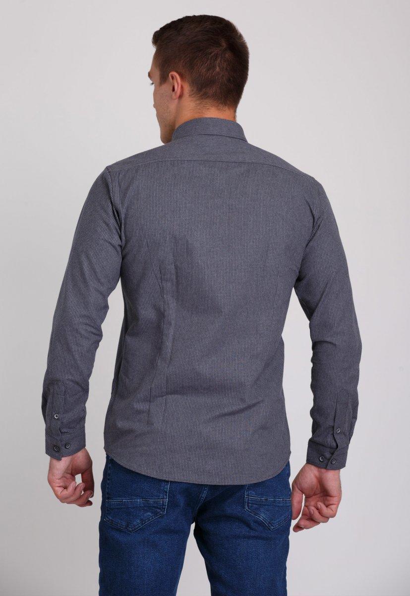 Рубашка мужская Trend Collection 7009 Серый+клетка №8 - Фото